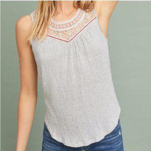 Anthropologie Maeve Lace Crochet Stripe Tank Top M